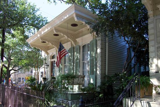 Victorian shotgun house on Louisiana Avenue in the Garden District