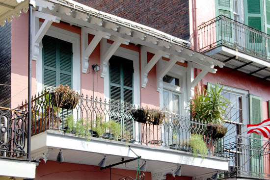 One of thousands of street-side balconies in the French Quarter